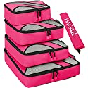 4 Set Packing Cubes,Travel Luggage Packing Organizers with Laundry Bag Fushcia