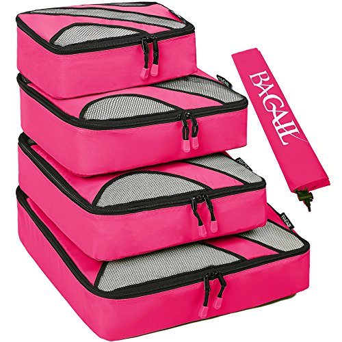 4 Set Packing Cubes,Travel Luggage Packing Organizers with Laundry Bag Fuchsia