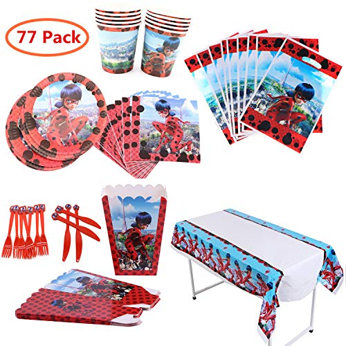 Ladybug Party Supplies (Ladybug Party Supplies Set 77Pcs Complete Birthday Party Decorations Supply Pack for 10 Children)
