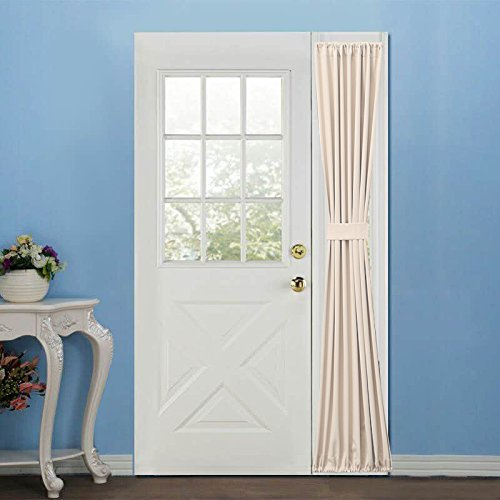 Elegance Blackout Sidelight panel curtains 25W by 72L Inches-Side lights front door curtain/panel-Beige(25x72) (Side Curtain Door Panel Rod)
