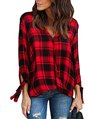 Astylish Women Casual Plaid V Neck 3 4 Long Sleeve Blouses Tops Shirts