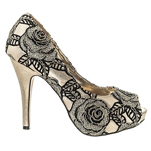 Womens High Heel Peep Toe Shoes Embroidered Satin Design Size 3 4 5 6 7 8 Gold amJW0u