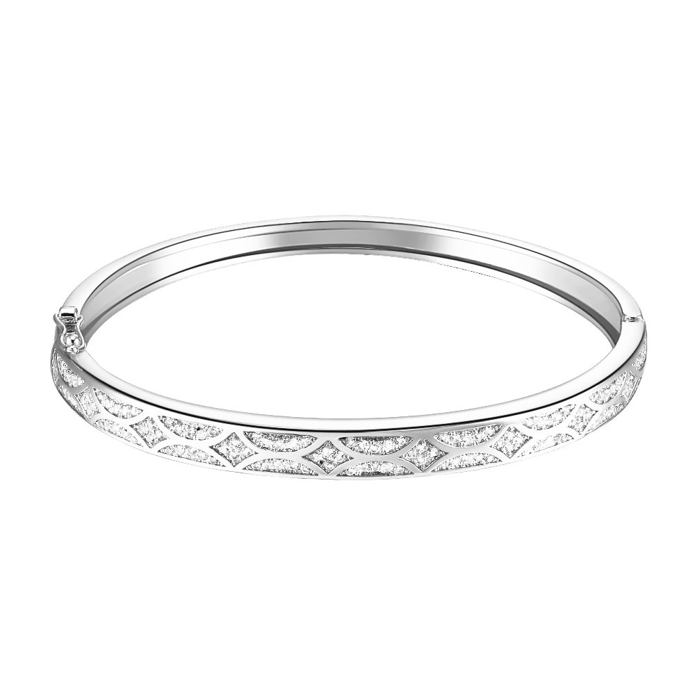 Lavencious Arts Design Bangle Bracelet Evening Party Bling Gold Plated Elegant Jewelry 7'' (Silver)