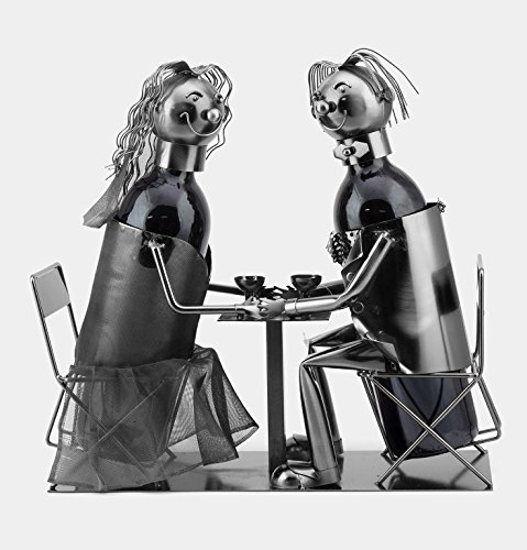 Loving Couple Metal Wine Bottle Holder Caddy Decor Figurine By Snow Courage Review