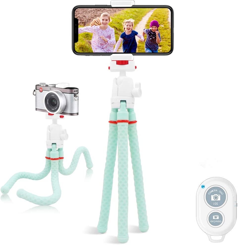 LINKCOOL 360 Degree Rotation Mini Foldable Flexible Octopus Tripod with Wireless Remote Shutter for Camera and iPhone Samsung Other Smartphone Sports Camera Gopro Akaso(2020 New Vision) (Mint Green)