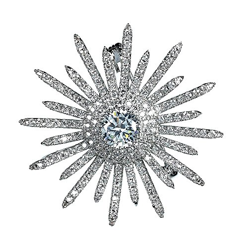 DREAMLANDSALES Bling Micro Pave Round Shaped Burst Star Brooches Pins Silver