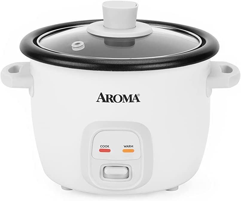 AROMA 4-Cups (Cooked) / 1Qt. Rice & Grain Cooker (ARC-302NG), White