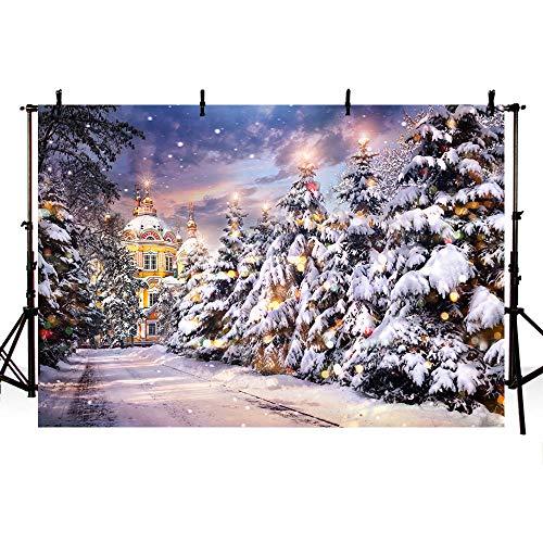 MEHOFOTO 8x6ft Winter Snow Scene Landscape Pine Trees Photography Backdrops Props Castle Merry Christmas Snowflake Kids Photo Studio Backgrounds (Landscape Christmas Photos Winter)