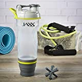 Fit and Fresh 787JAXXGRYWEB Jaxx 28oz Shaker Bottle with Collapsible Bottom Compartment Cup, 28 ounces