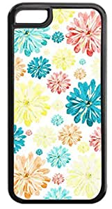 02-Scattered Flowers-Pattern-Case for the APPLE IPHONE 5, 5s-NOT THE 6 plus 5.5''!!!-Hard Black Plastic Outer Case with Tough Black Rubber Lining