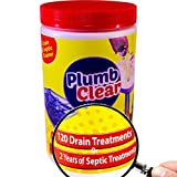 Drain Cleaner & Septic Tank Treatment - 2 Year Supply - Drain Clog Remover - Safe Natural Enzymes - Repace RV Toilet Chemicals - Stop Sewer Smell & Overflows - Unclog Bathroom - PlumbClear