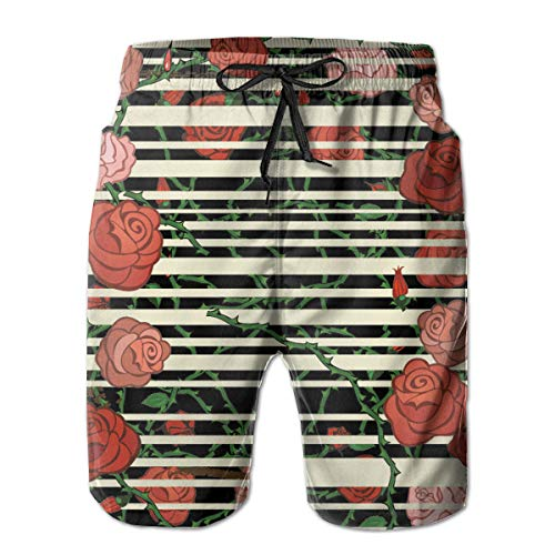 YongColer Roses Winding Pattern Cargo Short Men's Relaxed Cargo Short for Beach Gym Hiking Fast Dry Adjustable Drawstring Essentials Half Pants with Pocket Beachwear