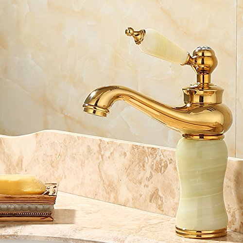 E Lpophy Bathroom Sink Mixer Taps Faucet Bath Waterfall Cold and Hot Water Tap for Washroom Bathroom and Kitchen gold Copper Jade Antique Hot and Cold redation S