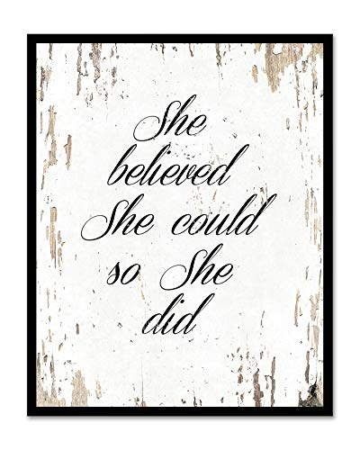 She Believed She Could So She Did - Framed - Quote Motivational Wall Art Canvas Print Home Decor, Black Real Wood Frame, White, 7x9