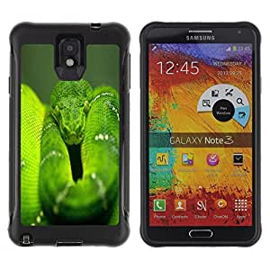 Suave TPU Caso Carcasa de Caucho Funda para Samsung Note 3 / Snake Green Nature Rainforest Reptile Tail / STRONG