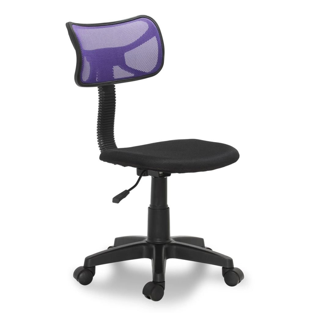Plastic Office Chair Black and Purple 30.3''-35'' Office Chair 360 Degree Swivel Task Chair Adjustable in Height to Suit Personal Preference