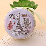 MStick Paris Purple Zipper Round Purse Wallet Pouch Bag Key Holder for Headphones/Coin