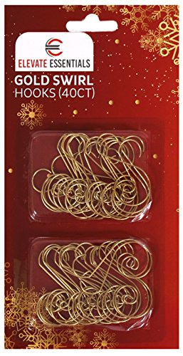 Elevate Essentials Swirl - Gold S Ornament Hooks - Decorative Ornament Hangers (Gold) 40ct