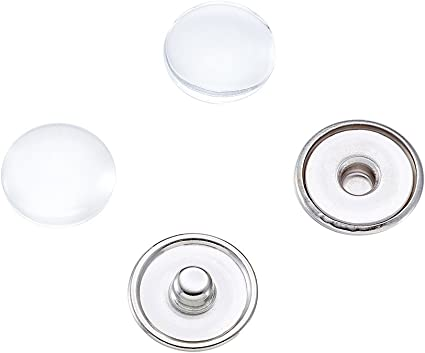 16mm 18x4mm Tray Pandahall 20Sets Chunk Snap Button Base Making Brass Snap Buttons Snap Popper Stud with Clear Glass Cabochons Platinum Clear Button