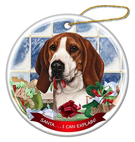 Tree Walker Coonhound Dog Porcelain Hanging Ornament Pet Gift 'Santa.. I Can Explain!' for Christmas Tree and Year Round (Coonhound Ornament)