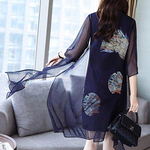 Seide Midi Übergröße Kleid Marine Damen Abendkleid Kleider Cocktail E girl Flowered S8805 q6xIw0