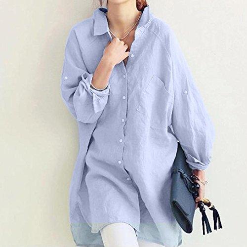 Y Suelto Manga Grande Mujer Lino Sólido Azul Sección Claro Algodón Camisetas Tamaño Bolsillo Botón Moda Color Ocio Larga Dogz Tops Camisa 6SwXqzz