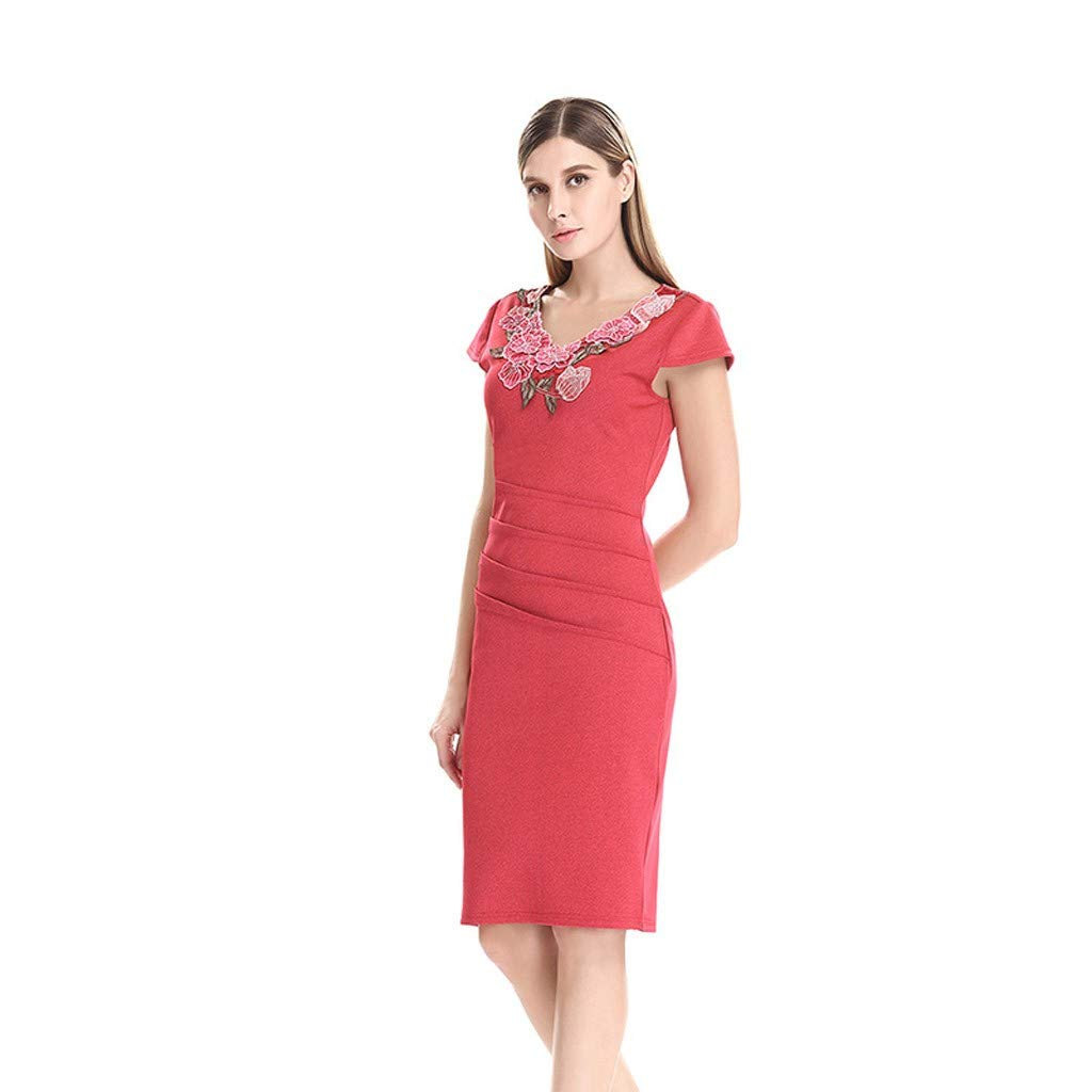 Wenini Women Embroidered Vintage Hollow Out Rose Embroidery Pencil Evening Party Dress Midi Dress by Wenini