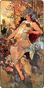 Alfons Alphonse Mucha Art Nouveau 4cuatro estaciones 4Prints cada 145x 75mm y libre regalo