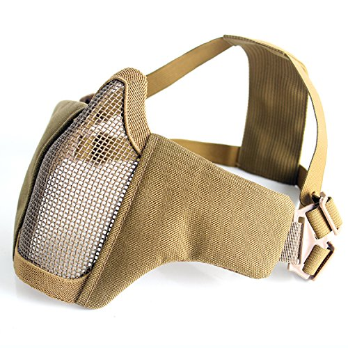 Half Face Protective Lower Mask Tactical Mesh Mask with Adjustable Elastic Strap for Airsoft/ CS/Outdoor games (Tan) - Tan Mask