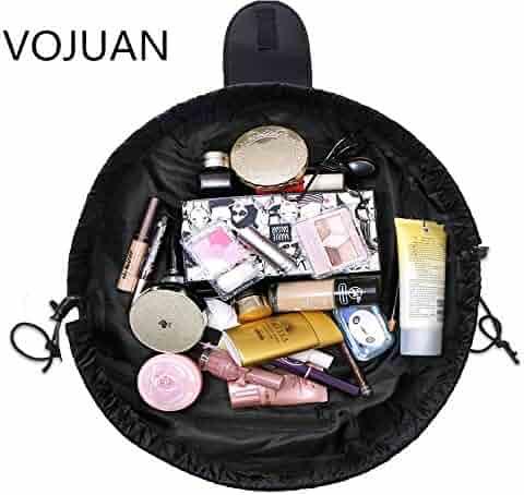 VOJUAN Fashion Cosmetic Bag Large Capacity Lazy Makeup Toiletry Bag Multifunction Storage Portable Quick Pack Waterproof Travel Bag (Black)