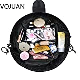 VOJUAN Fashion Cosmetic Bag Large Capacity Lazy Makeup Toiletry Bag Multifunction Storage Portable Quick Pack Waterproof Travel Bag (Black)