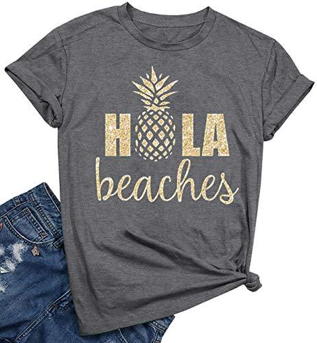 (YEXIPO Womens Hola Beaches Pineapple Print T Shirt Hawaiian Summer Vacation Funny Graphic Tees Short Sleeve Tops (Medium, Yellow))