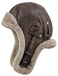 Sterkowski Warm Natural Shearling Leather Trapper Cap