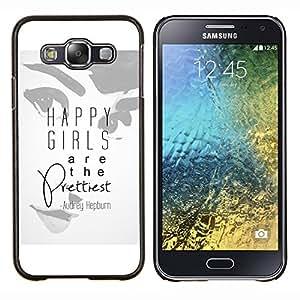 Prettiest Niñas Mujer Cita Audrey- Metal de aluminio y de plástico duro Caja del teléfono - Negro - Samsung Galaxy E5 / SM-E500