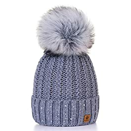 4sold Womens Ladies Winter Hat Wool Knitted Beanie with Large Pom Pom Cap SKI Snowboard Hats Bobble Gold Circle Little Crystals