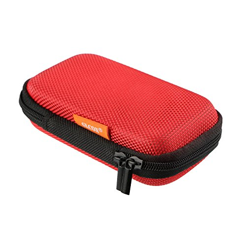 GLCON Red Rectangle Portable Protection Hard EVA Case,Mesh Inner Pocket,Zipper Enclosure Durable Exterior,Lightweight Universal Carrying Bag for Headset Earbud Charge Cable USB Mp3 Key Change Purse (Ipod Shuffle Carrying Case)