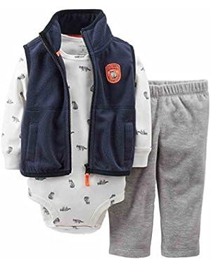Carters Infant Boys 3 Piece Raccoon Set Fleece Vest Sweat Pants & Bodysuit