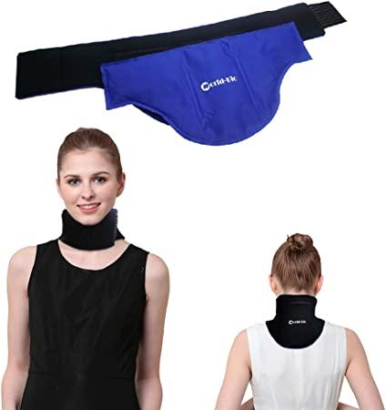 WORLD-BIO Neck Ice Pack, Hot Cold Gel Pad & Adjustable Wrap for Injuries, Migraines, Headache, Arthritis, Hot Compress Cold Therapy for Shoulder, Cervical, Muscle Pain, Neck Tension 18.2