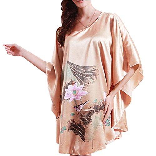 Zhhlinyuan Fashion Women's Slip Nightgown Satin Nightdress Lingerie Babydoll Chemise Nightwear Nude