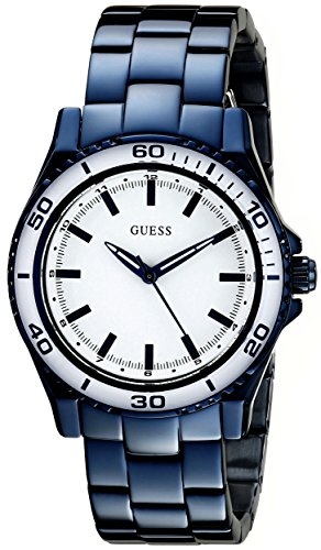 GUESS Women's U0557L3 Iconic Blue Mid-Size Stainless Watch with White Top Ring by GUESS