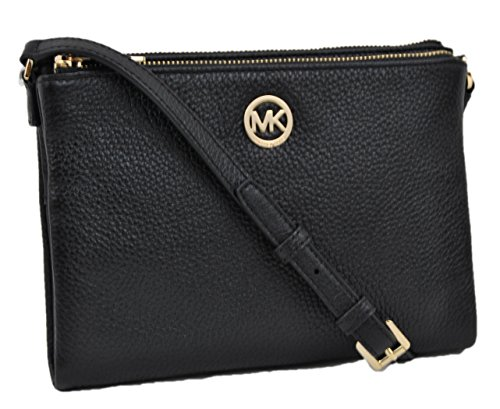 Michael Kors Fulton Crossbody Bag Leather Black (35T6GFTC7L) by Michael Kors