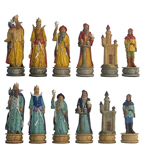 World Wise Imports Hand Painted Polystone Sorcerer Chess Pieces ()