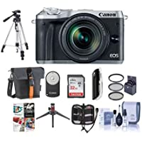 Canon EOS M6 Mirrorless Digital Camera Silver with EF-M 18-150mm f/3.5-6.3 IS STM Lens Bundle with Holster Case, 32GB SDHC Card, Tripod, Remote Controller, 55mm Filter Kit, Software Package And More