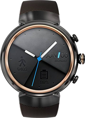 ASUS ZenWatch 3 WI503Q-GL-DB 1.39-inch AMOLED Smart Watch with dark brown leather strap (Brown-Rubber Band) by ASUS Computers
