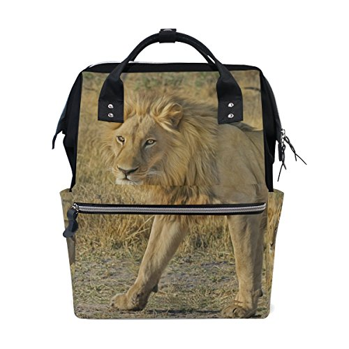 Diaper Bags Backpack Purse Mummy Backpack Nappy Bag Cool Cute Travel Backpack Laptop Backpack with Wild Lion Daypack for Women Girls Kids