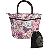 JAVOedge Pink and White Double Pocket Fabric Japanese Blossom Pattern Lunch Bag Tote with Zipper and Handle, Bonus Bag