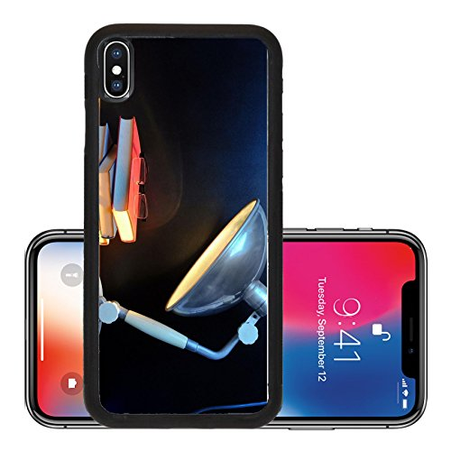 Liili Premium Apple iPhone X Aluminum Backplate Bumper Snap Case IMAGE ID 32055443 Small stack of books with glasses and vintage lamp in front of black - Ebay Vintage Glasses