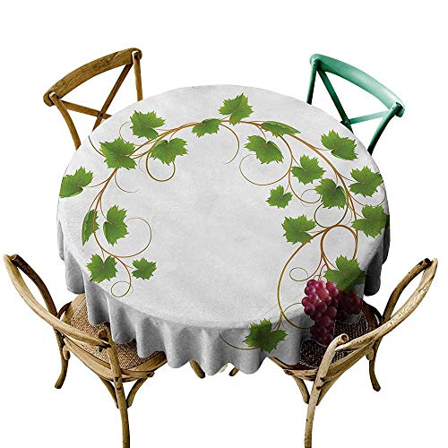 Wendell Joshua Pink Tablecloth 60 inch Vineyard,Curved Ivy Branch Deciduous Woody Wines Seeds Clusters Cabernet Theme Print,Green Purple Suitable for Indoor Outdoor Round Tables]()