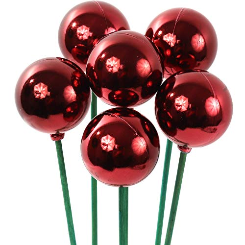 Large Deep Red Decorative Christmas Ornaments Ball Picks, 48 Ct - 2-Inch Diameter Berry Ball for Xmas Tree Decoration, Holiday Décor, Home DIY Crafts, Shatterproof Ball on Pick