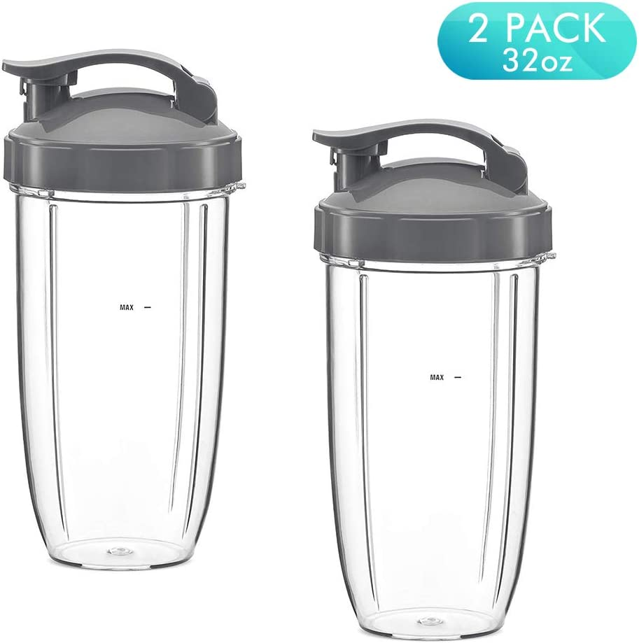 NutriBullet Replacement Cups, 32oz Tall Cups and Flip Top To-Go Lids Replacement Parts for Nutribullet 600w & 900w Blender Mixer Replacement Accessories Parts (Pack of 2, 32oz)